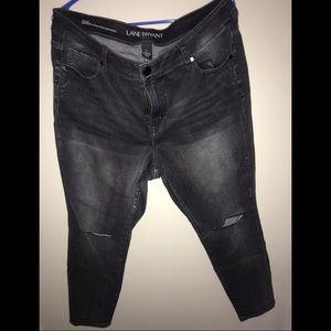 NWT Lane Bryant Black Jeans Knee Rips Petite Sz 18